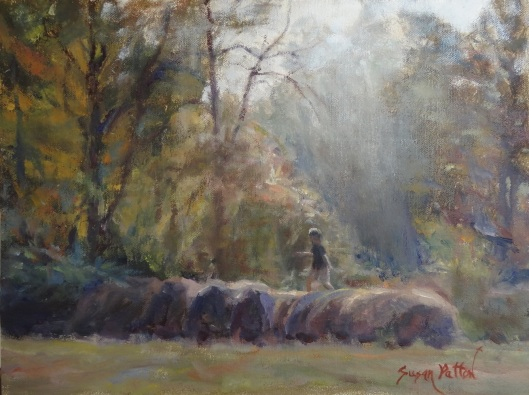 """Bales of Fun"" oil on canvas by Susan Patton"