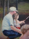 "This is another picture I painted (acryolic on canvas) in '07 of my Pop and me.I can still feel the coldness of his sleeves on the hot summer day... and I guarantee he had some ""Double-mint"" gum in his pocket to give me first chance he got."